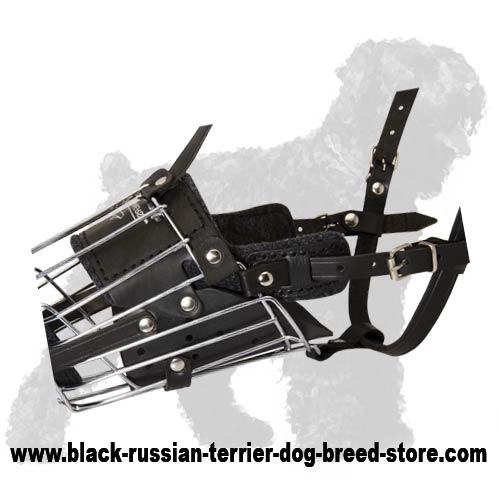 'No Mash' Super Fashionable Wire Cage Muzzle for Active Black Russian Terrier