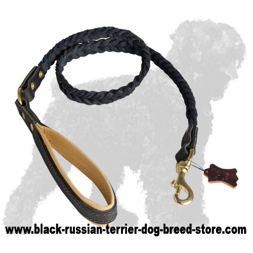 Braided Leather Black Russian Terrier Leash