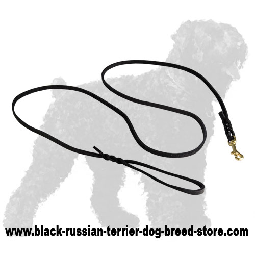 Walking Russian Terrier Leash made of Authentic Leather