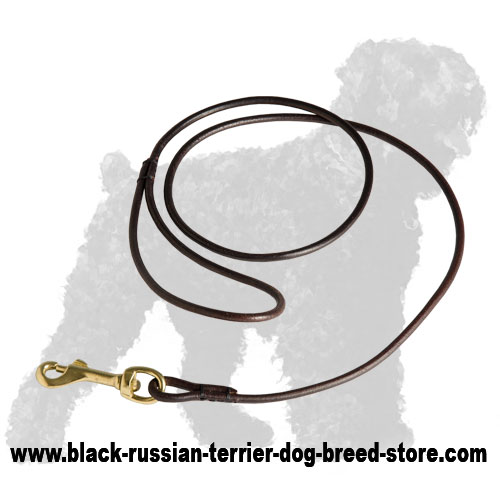 Soft Rolled Leather Black Russian Terrier Leash