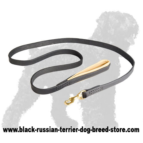 Premium Quality Leather Black Russian Terrier Leash with Handle