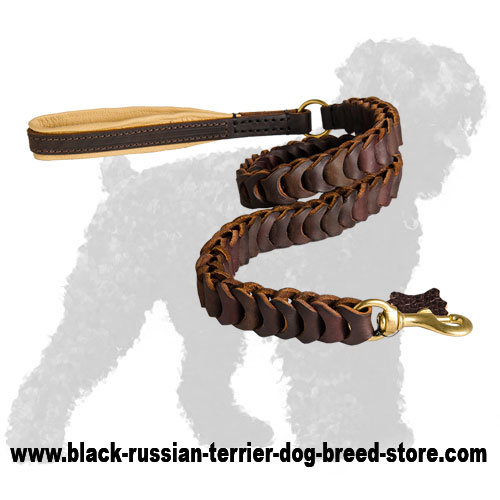 Top Quality Braided Leather Russian Terrier Leash