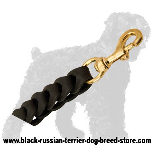 Strong Snap Hook of Braided Leather Russian Terrier Leash for Walking