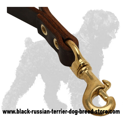 Durable Snap Hook of Short Leather Russian Terrier Pull Tab