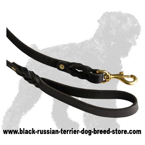 Durable Handle and Snap Hook of Leather Russian Terrier Leash