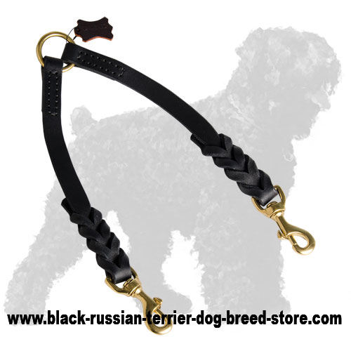 Braided Leather Russian Terrier Coupler