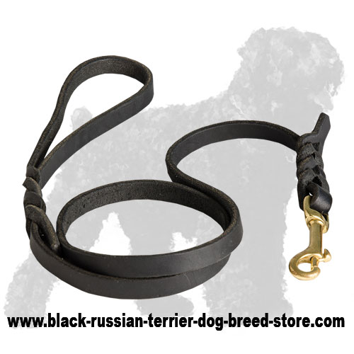 High Quality Leather Russian Terrier Leash with Brass Hardware
