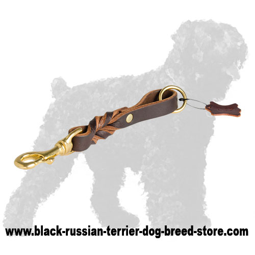 Braided Short Leather Russian Terrier Lead
