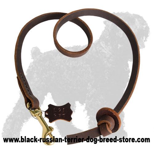 Exclusive Training Leather Black Russian Terrier Leash