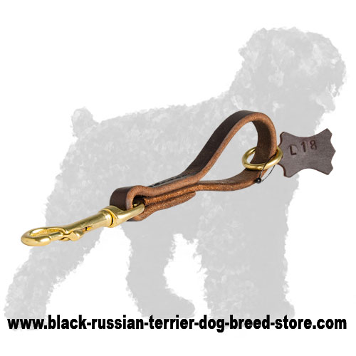 Short Leather Dog Pull Tab for Russian Terrier