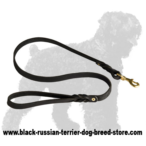 Training Braided Leather Russian Terrier Leash