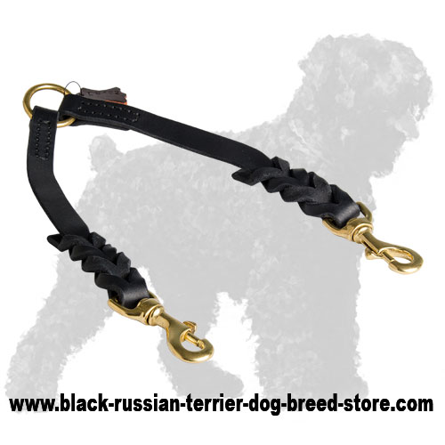 Walking Stitched Leather Russian Terrier Coupler with Braids
