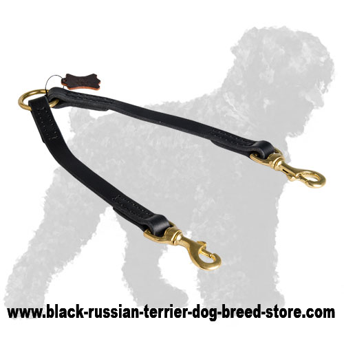 Walking Stitched Leather Russian Terrier Coupler