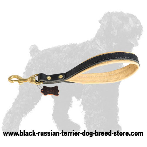 Stylish Leather Russian Terrier Leash with Stitched Handle