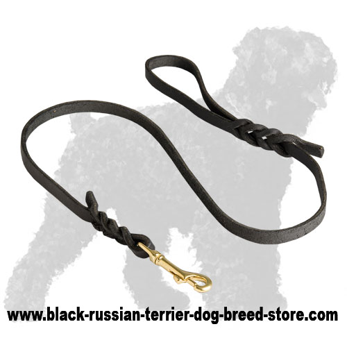 Hand-Made Leather Black Russian Terrier Leash