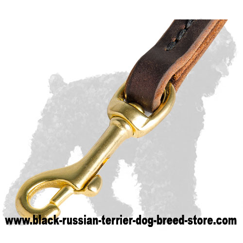 Strong Snap Hook  of Short Leather Russian Terrier Pull Tab Leash