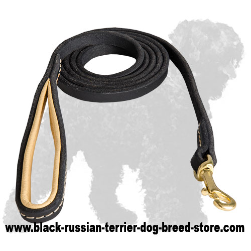 Durable Leather Russian Terrier Leash with Soft Handle