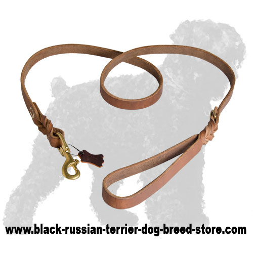 Leather Russian Terrier Leash of Upgraded Quality with Stylish Braids