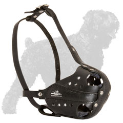 Russian Terrier Leather Muzzle Safe and Comfortable
