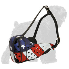 Fashionable Training Leather Russian Terrier Muzzle with an American Flag