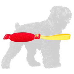 Carefully Stitched French Linen Balck Russian Terrier Bite Tug with Handle