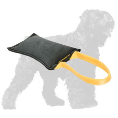 Leather Black Russian Terrier Bite Tug with Handle