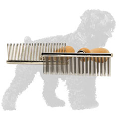 Easy to Use Chrome Plated Russian Terrier Comb with Wooden Handle