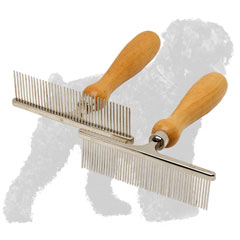 Comfy Chrome Plated Russian Terrier Comb with Wooden Handle for Grooming